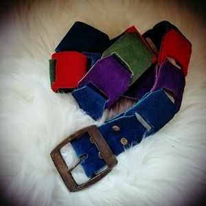 multi colored suede belt